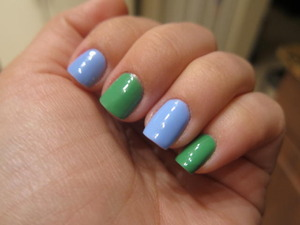 Mojito Madness and Bikini So Teeny.  Mojito Madness is very opaque and only requires two coats.  The Bikini So Teeny is a bit streaky and needs a minimum of 3 coats for nice coverage.