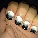 black, silver and white ombré nails