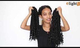Faux locs crochet hair with curly ends show (black color)