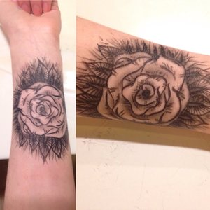 Messed up on the petals of the rose, as well as some shading, but I think it turned out pretty cool regardless :)