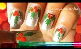 Easy Mistletoe nails :)