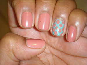 Dusty rose with blue-green accent nail. LOVED this mani even though the pink is considered a 'grandma color.'