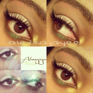 winged cut-crease with green & gold accents.