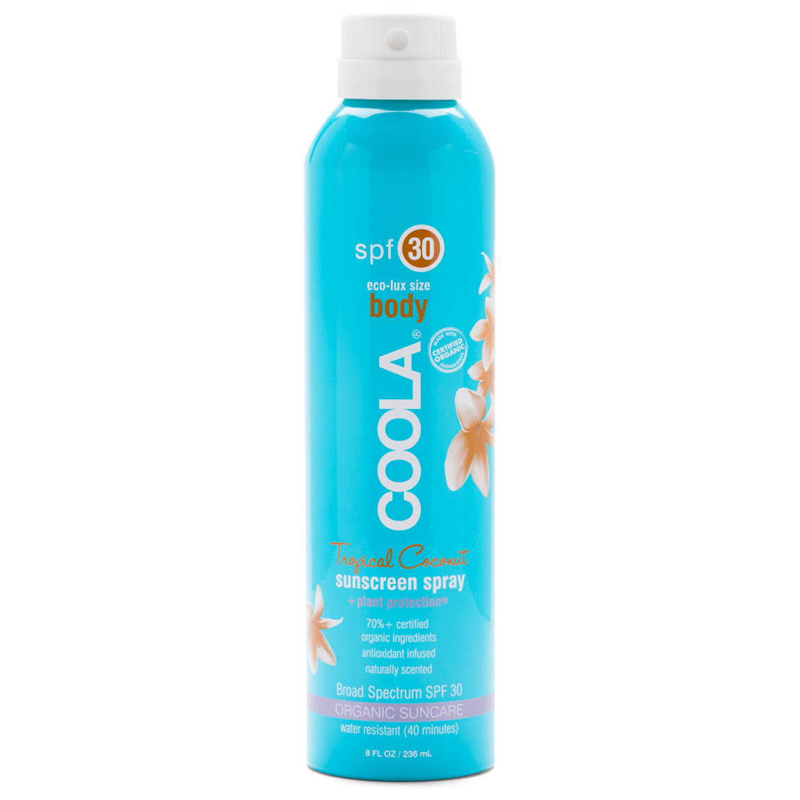 COOLA Eco-Lux Sport Sunscreen Spray SPF 30 Tropical Coconut product swatch.
