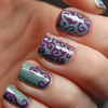 Swirly purple & turquoise nails