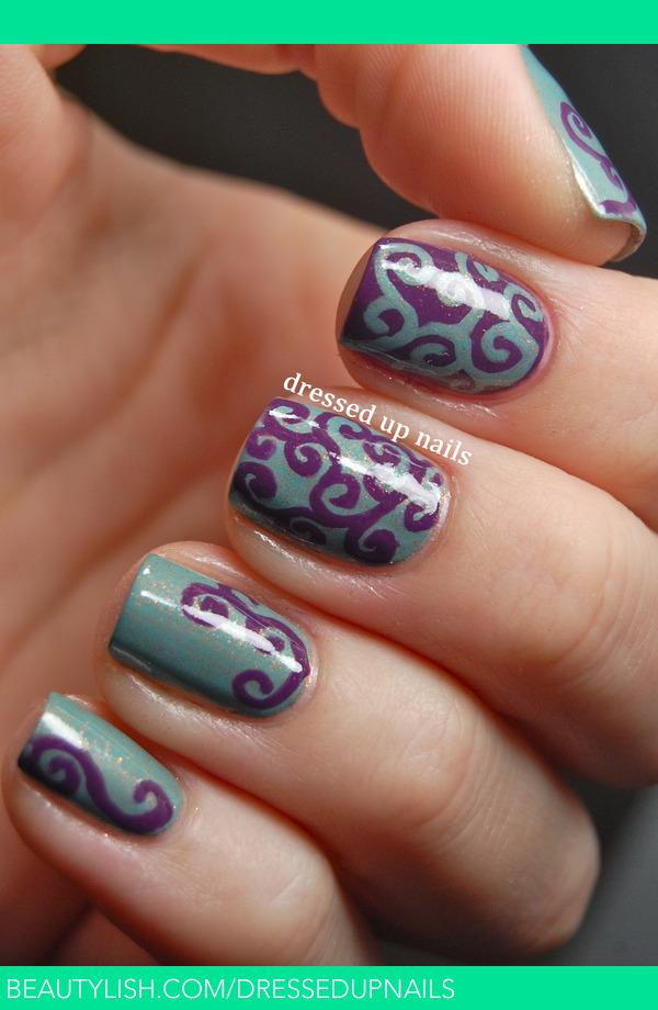 Swirly Purple Amp Turquoise Nails Whitney S S Dressedupnails Photo Beautylish
