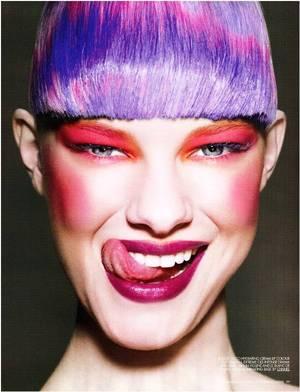 purple hair, red eyeshadow, fuchsia blush, purple lipstick, blue mascara, colorful
