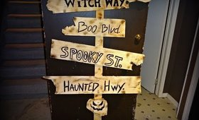 2016 DIY Halloween Decorations : Wooden Sign Post