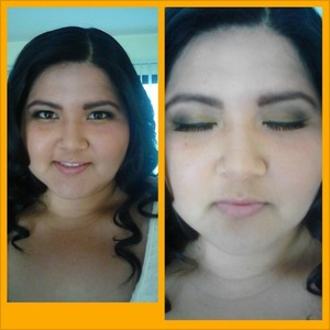 full face makeup with subtle smokey eye and lashes.