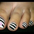 striped toes and flower accent!