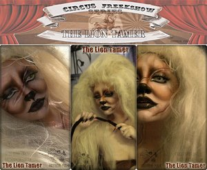 """""""Does she tame the lion or is it all as it once was or were? The crack of the whip with just a slight slip will bring out the beast in her!""""  -Poem/Makeup by Hannabal Marie"""