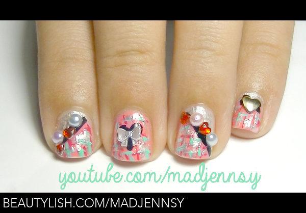 Romantic Tweed Nail Art For Short Nails Madjennsy Ns