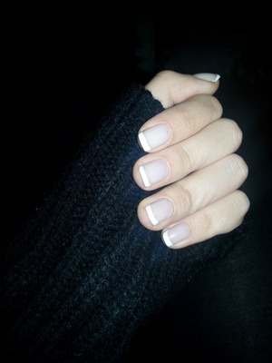 Just a simple white french manicure,  made on december 2014