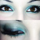 turquoise disco makeup