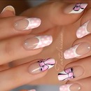 Nail art prakash very girly en one strock on french manicure