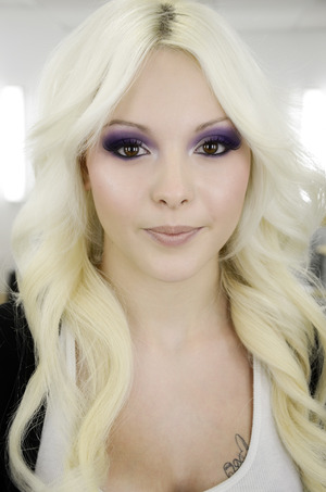 I did a funky purple smokey eye for this shoot, I love makeup forever eye shadow #92 gave her a flawless complexion with MAC face and body mixed with cinema secrets concealer