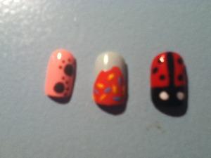 Paw prints,donut, ladybug