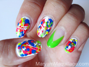 Pollock-Graffiti-Drip-Splatter-Nails left hand. For products & how-to, visit my latest blog entry: http://www.maryammaquillage.com/2012/06/pollock-graffiti-drip-splatter-nails.html
