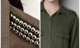 DIY | Zara Inspired Military Studded Shoulder Shirt