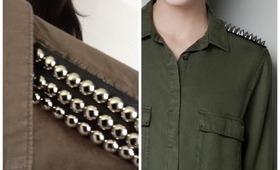 DIY | Zara Inspired Military Studded Shoulder Shirt
