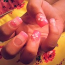 Pink And White Short Acrylic Nails