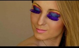 Easter Glam: Bright Makeup with Feathers