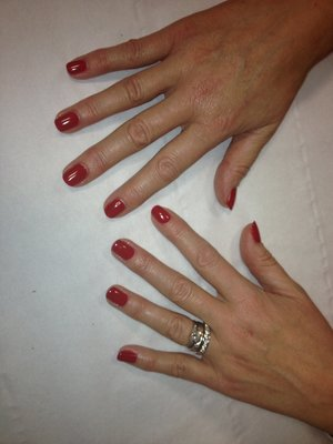 Gel polish :) remember lady always leave a tiny guide line inbetween the cuticle and the polish... Once it touches there is more of a chance once your nails starts to grow the gel or polish then has a lip ...water will get under and make your polish come off... Just a tip to help keep it on! Also always every couple of days file your nails lightly ! Will help them grow ! And stop little catches !
