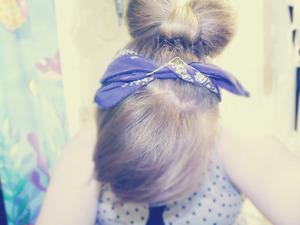 Hair bow with side bangs and bandana.