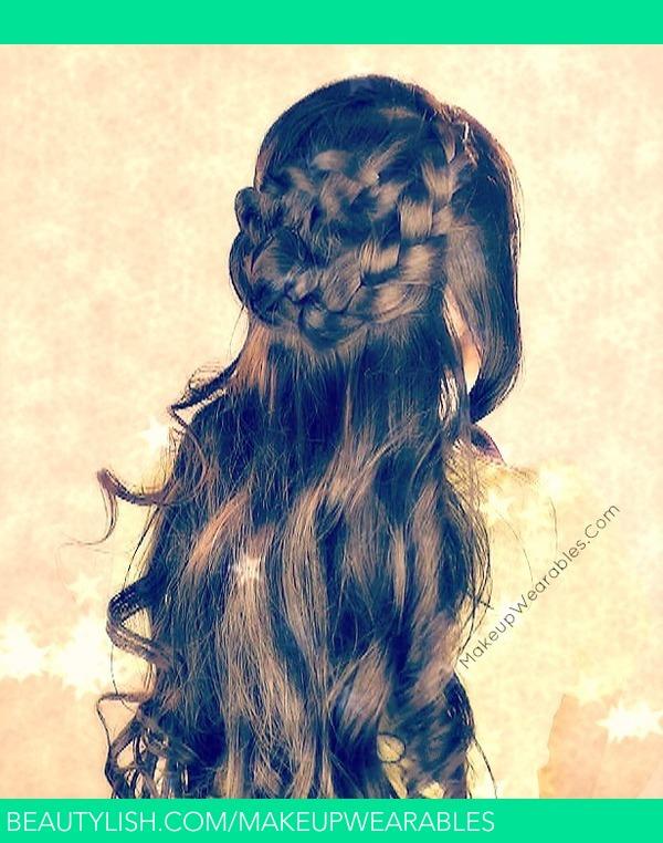 Boho Wrap Around Braid Half Up Updo For Long Hair Tutorial Spring