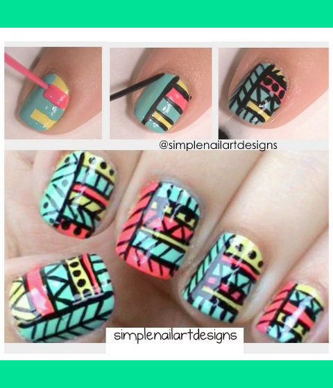 Tribal print nails simplenailartdesigns ss tribal print nail art tutorial for this design httpyoutubewatchvt5pd prinsesfo Image collections