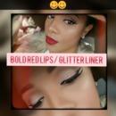 Bold lips/ glitter liner