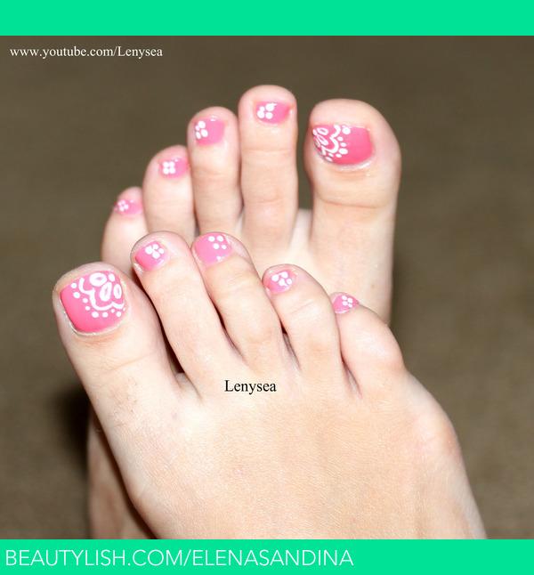 Pink And White Toe Nail Design Elena Ss Elenasandina Photo