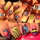 Crazy Nail Design! ZigZags, Leopard & Zebra