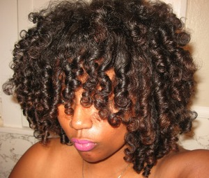 **Day 2 hair** I used Shea Moisture Curl & Style Milk to set my dry hair on flexi-rods. To maintain the style I twisted my hair in about 10 twists & slept in a satin bonnet at night.