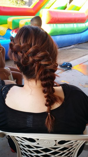 French braid I did u can always pin the stick ups.