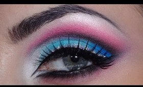 White, blue and pink cut crease