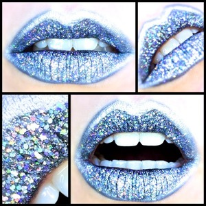 http://michtymaxx.blogspot.com.au/2014/01/lip-art-tutorial-space-age-holographic.html  Here is the Space-age Holographic Lip Art that I came up with quite a while ago. It's a cyber-spacey look that would rock at a club or a gig, and anywhere there is light to make the most of the reflective glitter!