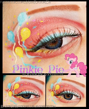 My Little Pony; Friendship is Magic - Pinkie Pie! I haven't actually done her before so yay! I am pretty happy with this look overall, I just wish I have a finer brush so the balloon strings would be thinner, I'll have to pick one up! I used Lunatick Cosmetic Labs LLC for the shadows, they had some really pretty, soft pinks that went well with this look! I used Wolfe Face Art & FX to draw the balloons with. More info on my blog:  http://razorderockefeller.blogspot.com/2013/03/my-little-pony-friendship-is-magic.html