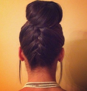 French braid into sock bun.