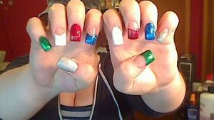 green- Zoya 'Rina' white- no name. :/ red- Sally Hansen 'Red Carpet' blue- Zoya 'Twila' Silver- Nicole by OPI 'Make A Comet-ment'