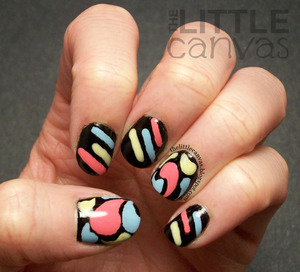 inspired by a manicure by Supa Nails - http://thelittlecanvas.blogspot.com/2013/03/triplet-jazzy-nail-art.html