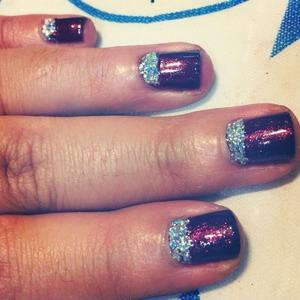 I used chunky glitter nail polish & cranberry colour