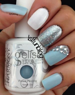 Baby Blue Gelish And Rhinestones