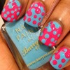 Blue and pink interlocking dots
