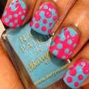 Blue and pink interlocking dots