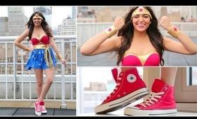 DIY Wonder Woman Halloween Costume + Makeup!