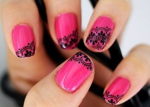This is one of the many new coming nail trends I have seen lately! Lace nails! It's a very easy style to do!  (The image that was used was found on google)
