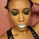 Green Smokey eye with Icey Blue lips
