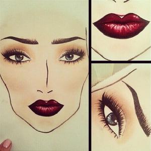 Face chart no 4. Vampy wedding makeup.
