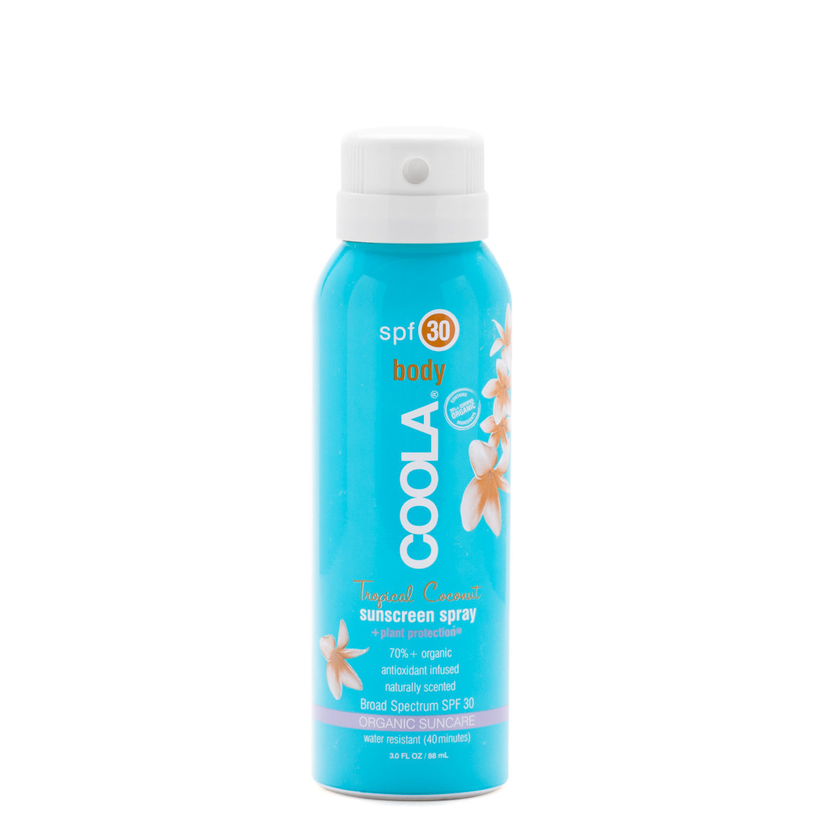 COOLA Travel Sport Sunscreen Spray SPF 30 Tropical Coconut product swatch.